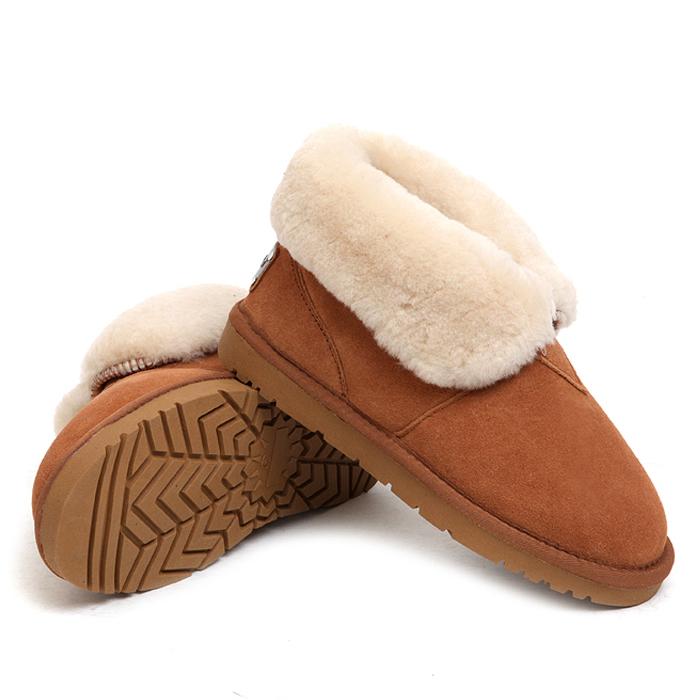 皮毛一体情侣款雪地靴磨砂牛皮加厚羊毛翻毛短靴防水防滑男女棉鞋