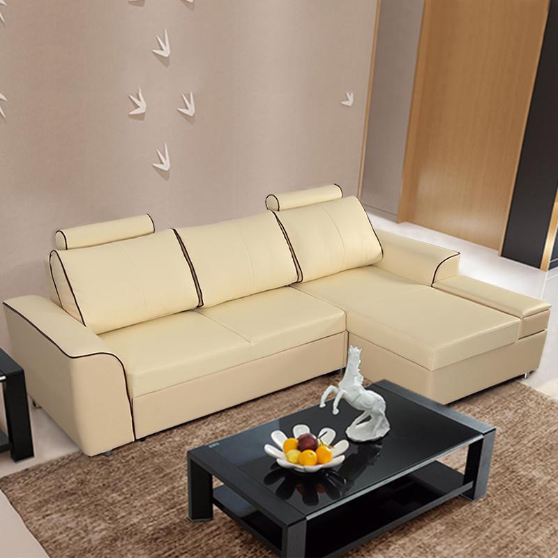 木维斯多功能现代简约皮艺沙发床组合客厅实木转角真