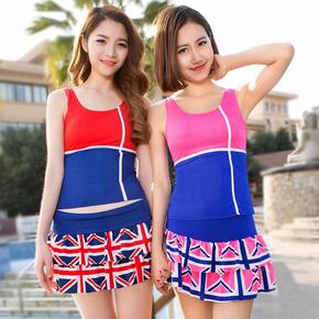 韩国泳衣分体女士裙式 小胸聚拢学生游泳衣 保守显瘦遮肚少女泳装