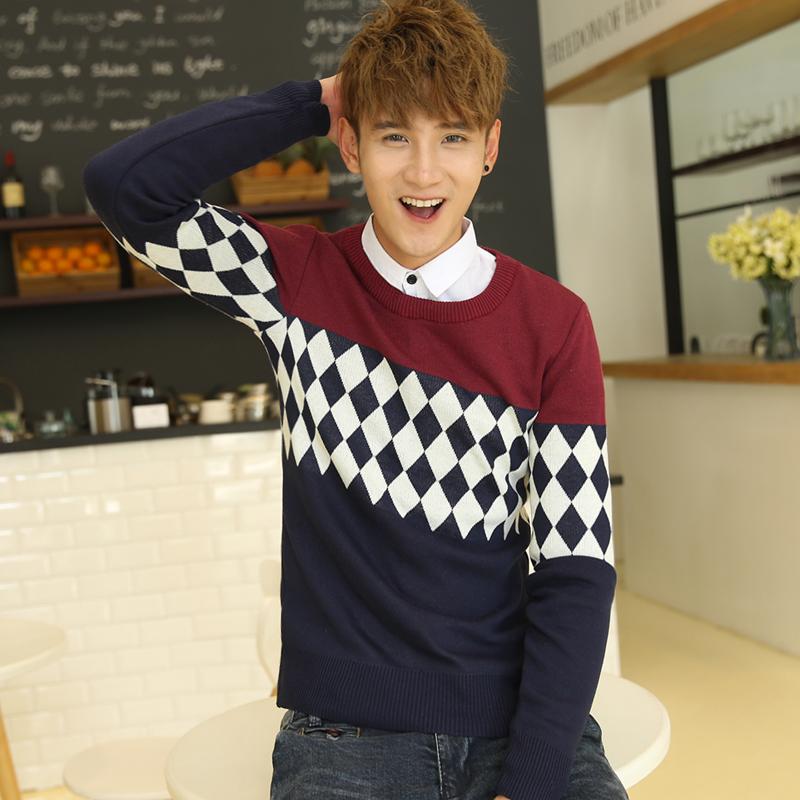2014秋季新款男士针织衫青少年韩版修身毛衣圆领套头针织衫外套潮