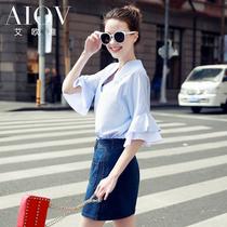 艾欧唯2016夏装新款韩版V领宽松喇叭袖短袖t恤女夏蝙蝠袖女装体恤