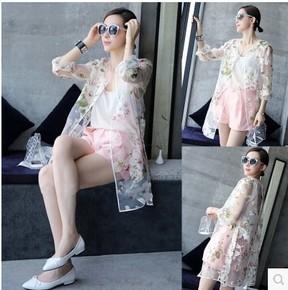 2015韩版新款印花欧根纱女士防晒衣中长薄款透明透气开衫外套