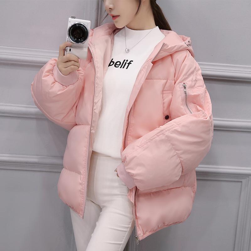 随启2016新款韩版收腰冬季外套中长款粉色连帽面包棉服衣女装潮