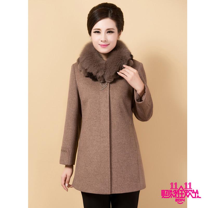 中年新款女装秋冬短款羊绒大衣中老年妈妈狐狸毛领羊毛呢短款外套