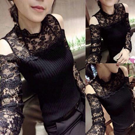 黑色性感2014秋冬新款韩版时尚透视蕾丝漏肩时尚百搭针织衫包邮
