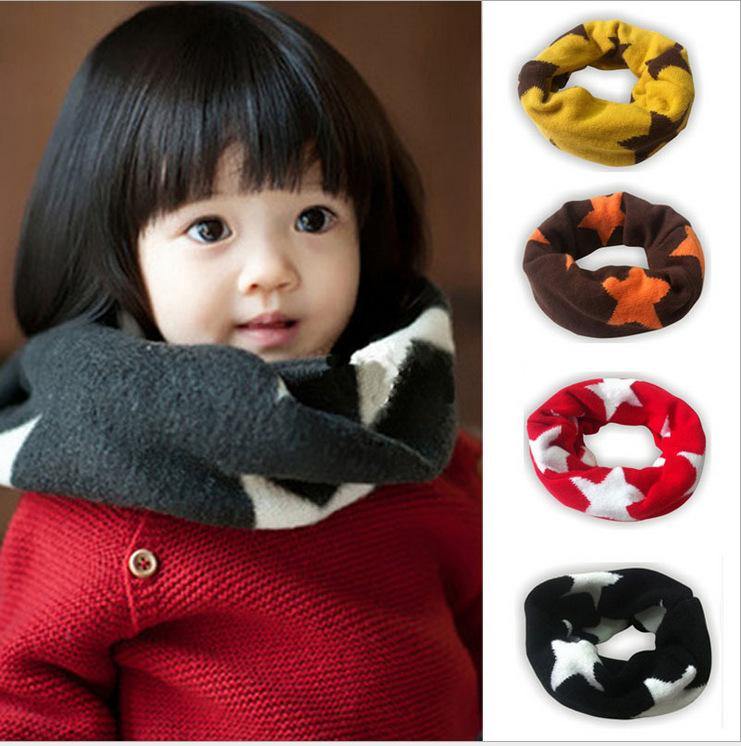 儿童围脖批发 新款韩版五角星套头围脖 宝宝针织围脖 糖果色围脖