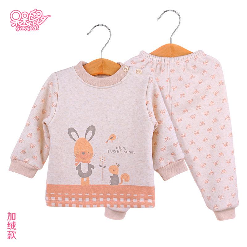 婴儿加绒内衣秋冬纯棉宝宝内衣婴儿内衣套装新生儿衣服婴儿保暖衣