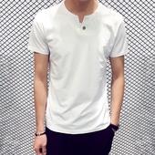 v领体恤长袖 打底衫 上衣服 夏季男士 修身 t恤男纯棉半袖 韩版 男装 短袖