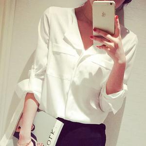 彩黛妃2015秋冬装新款韩版女装打底衫长袖雪纺衬衫宽松大码衬衣