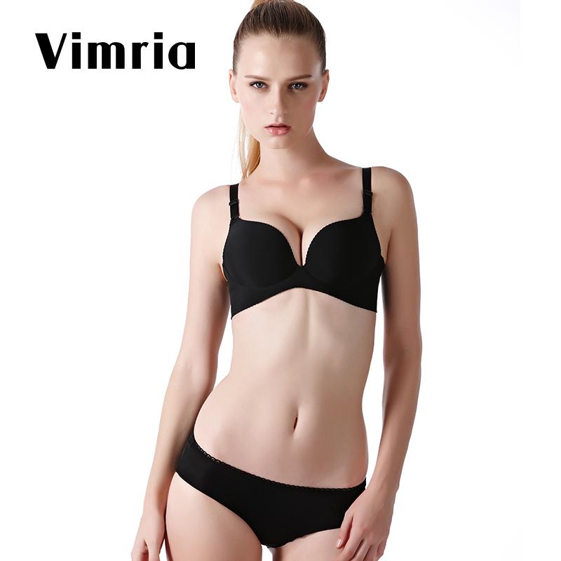 维蜜娅少女一片式文胸性感无痕无钢圈聚拢小胸调整型薄款内衣套装