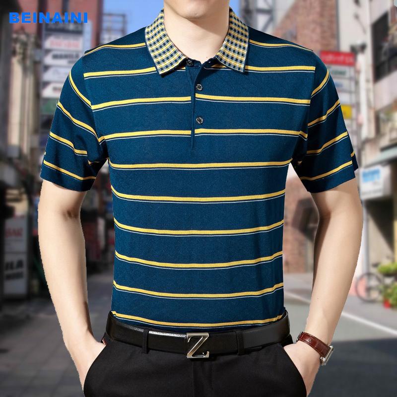 爸爸装夏季流行中年男短袖t恤半袖汗衫男装翻领横条针织