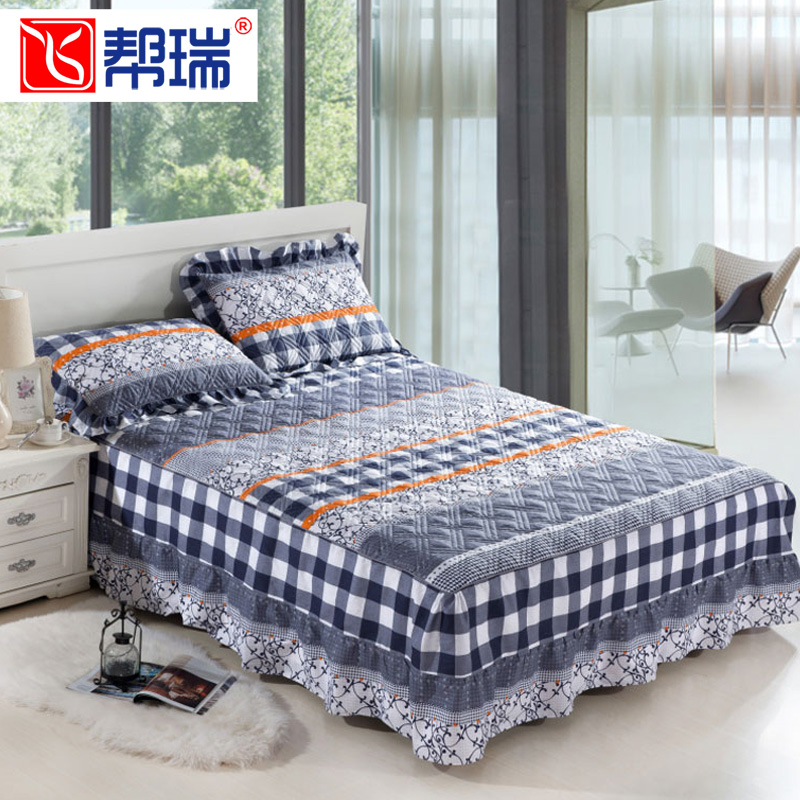 全棉印花夹棉床罩单件纯棉保暖床裙床套单双人加厚床盖床群2.0米