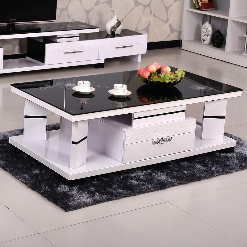 钢化玻璃茶几现代简约黑白色茶几新款几类客厅家具电视柜茶几组合