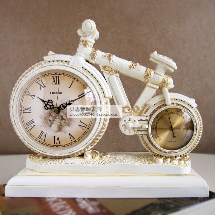 创意欧式复古台钟座钟自行车摆件钟表客厅卧室装饰坐