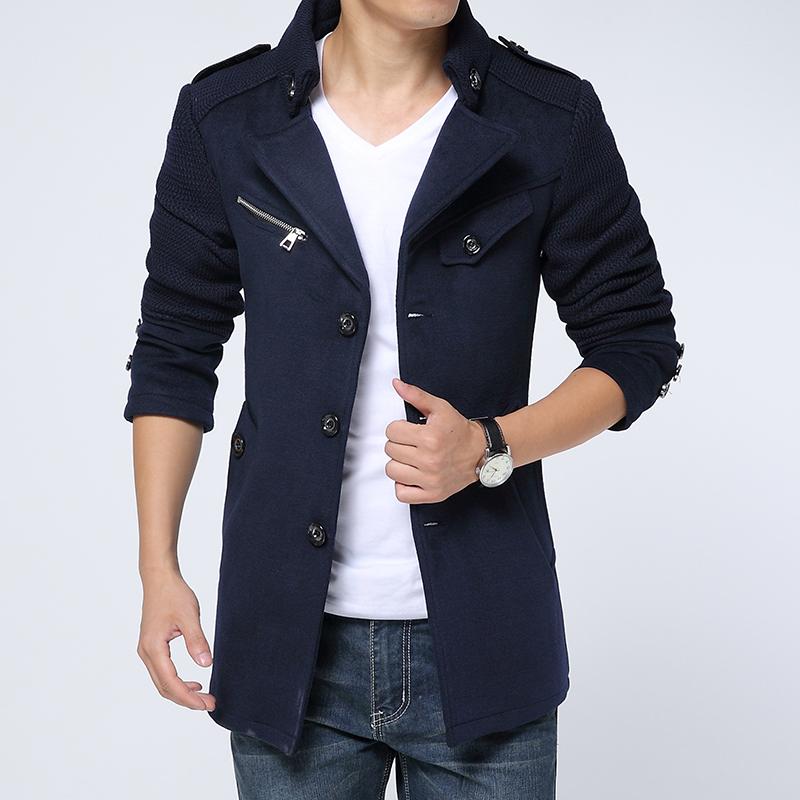 2014秋冬装新款男士韩版修身型呢大衣青年男装呢子大衣外套L2018