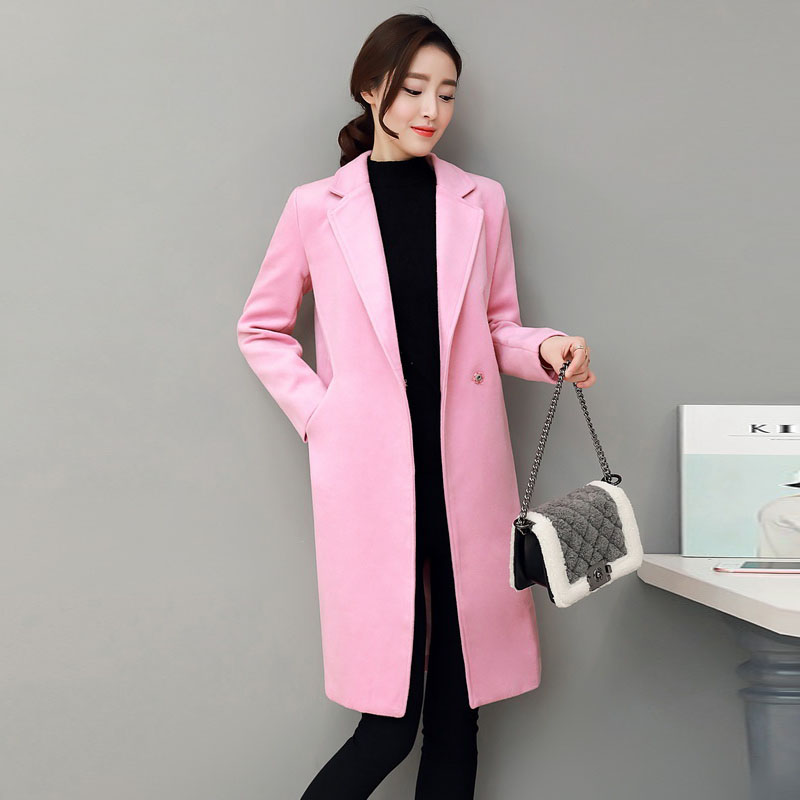 2016秋冬季新款韩版大码女装时尚百搭新品中长款修身大衣毛呢外套