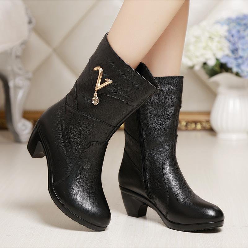 2014秋冬保暖马丁靴大码女靴子真皮中筒靴中跟粗中年女鞋妈妈靴子