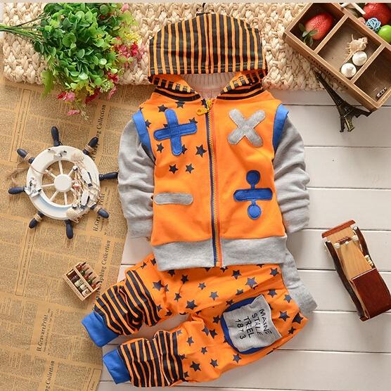 特价童装新款包邮春秋童装2件套加号条纹套男女孩休闲儿童套装