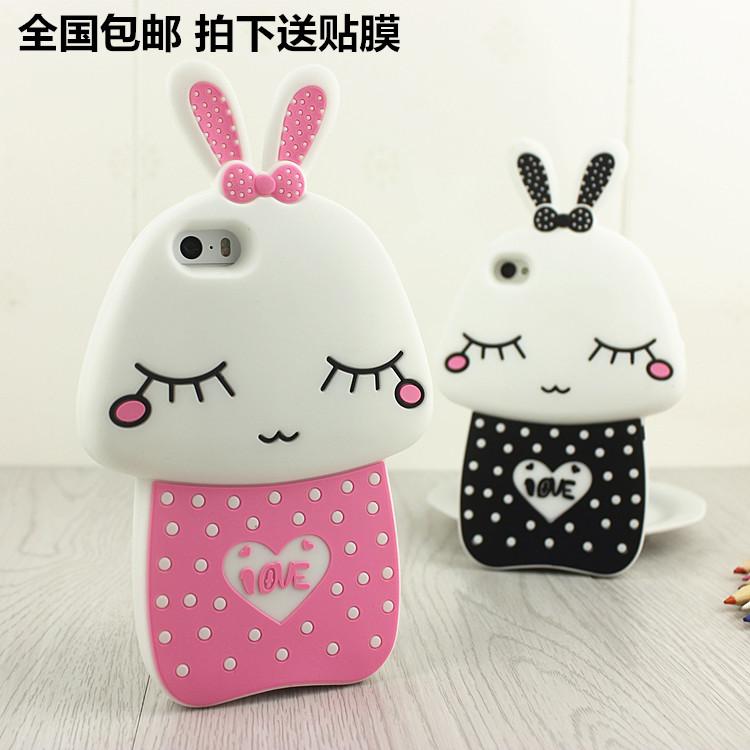 iPhone4S蘑菇兔手机壳 卡通硅胶套 苹果4可爱手机套 潮女兔子外壳