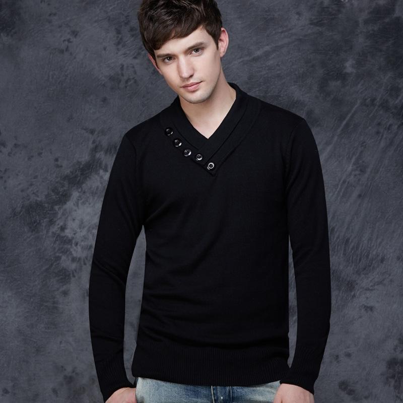 秋冬装韩版V领线衫男士针织衫薄款打底衫修身羊毛衫套头毛衣男