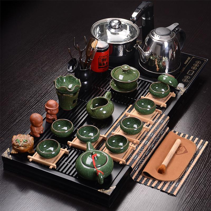 紫砂茶具套装整套陶瓷冰裂功夫茶具电磁炉四合一实木茶盘特价包邮