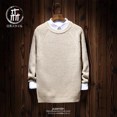 2017春季新款纯色简约时尚打底针织衫日系 复古圆领套头长袖毛衣