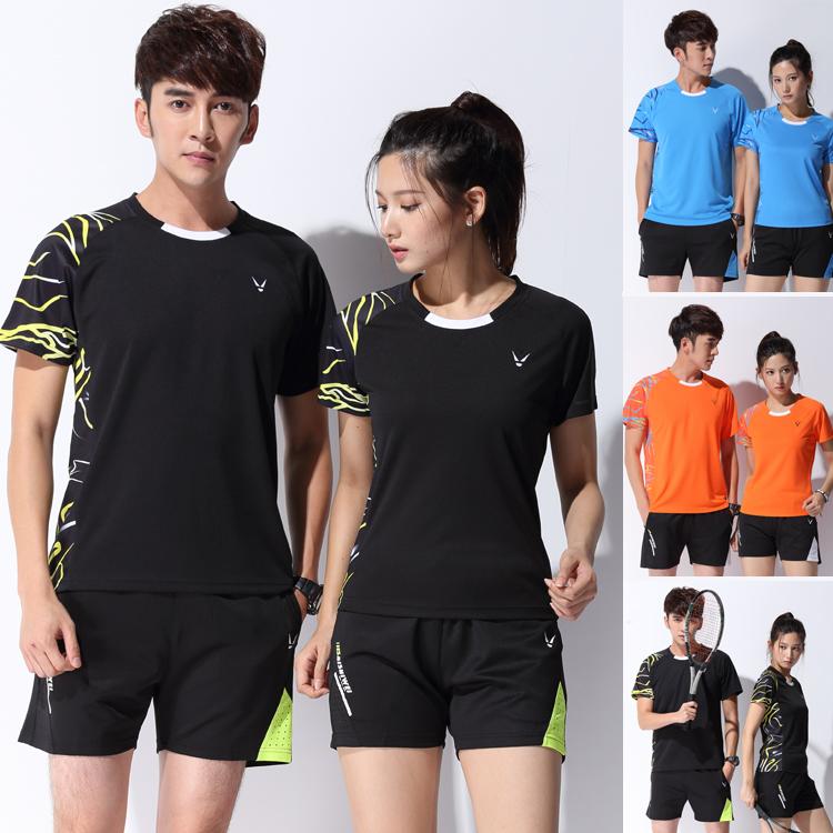 运动套装圆领羽毛球短袖乒乓球夏短款球衣男女半袖恤速干