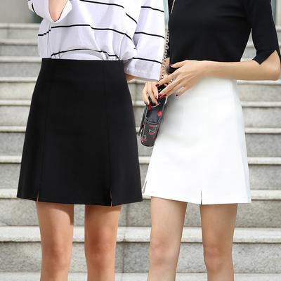 防走光半身裙女夏韩版工作短裙一步职业百搭包臀工装秋黑色a字裙