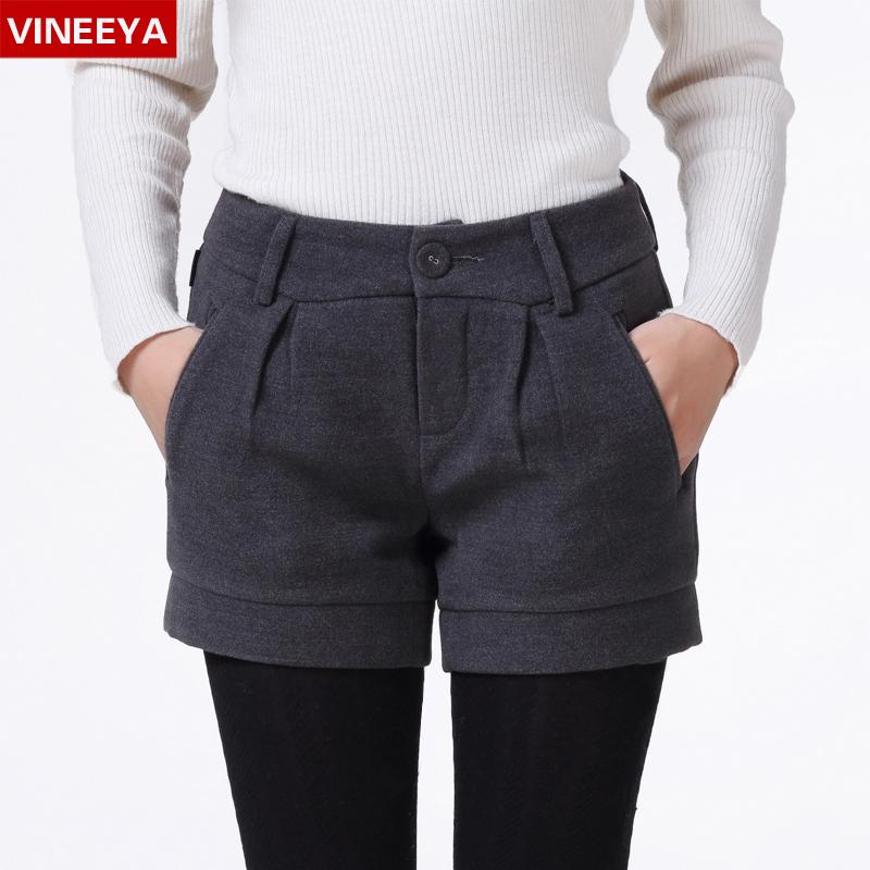 2014新款韩版时尚修身打底毛呢短裤女 秋冬季加大码显瘦呢子靴裤