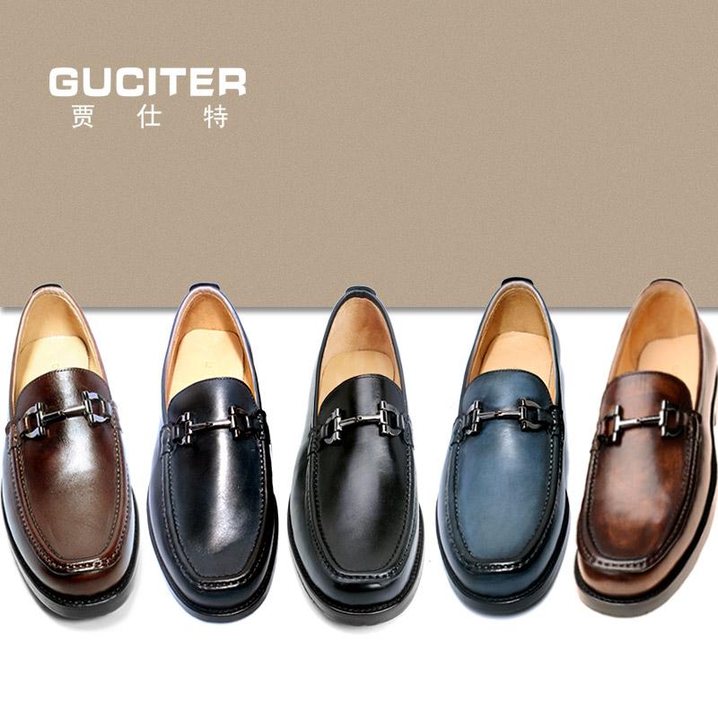 新款固特异手工定制男鞋头层小牛皮乐福鞋夏季流行皮鞋套脚单鞋