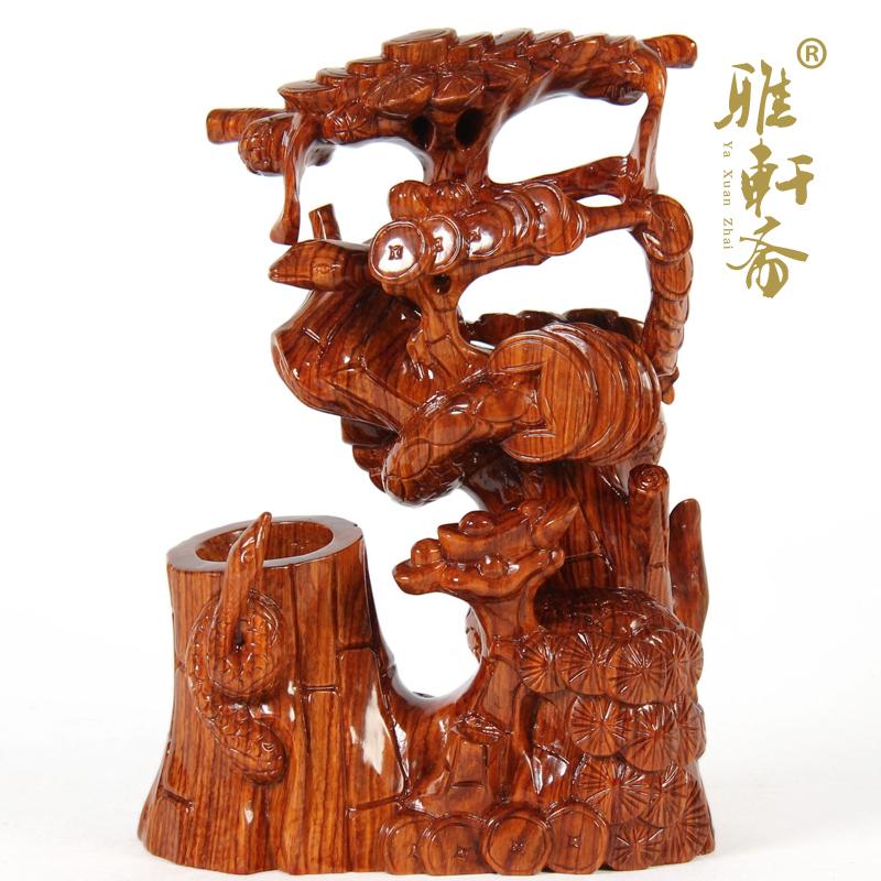 刻摆件蛇笔筒母子情深T 木雕文房四宝礼品红木工艺品 雅轩斋动物