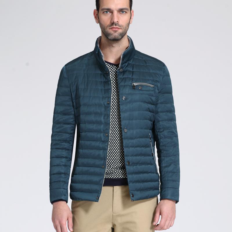 罗格帝尼2014新款男士羽绒服男立领修身男装外套