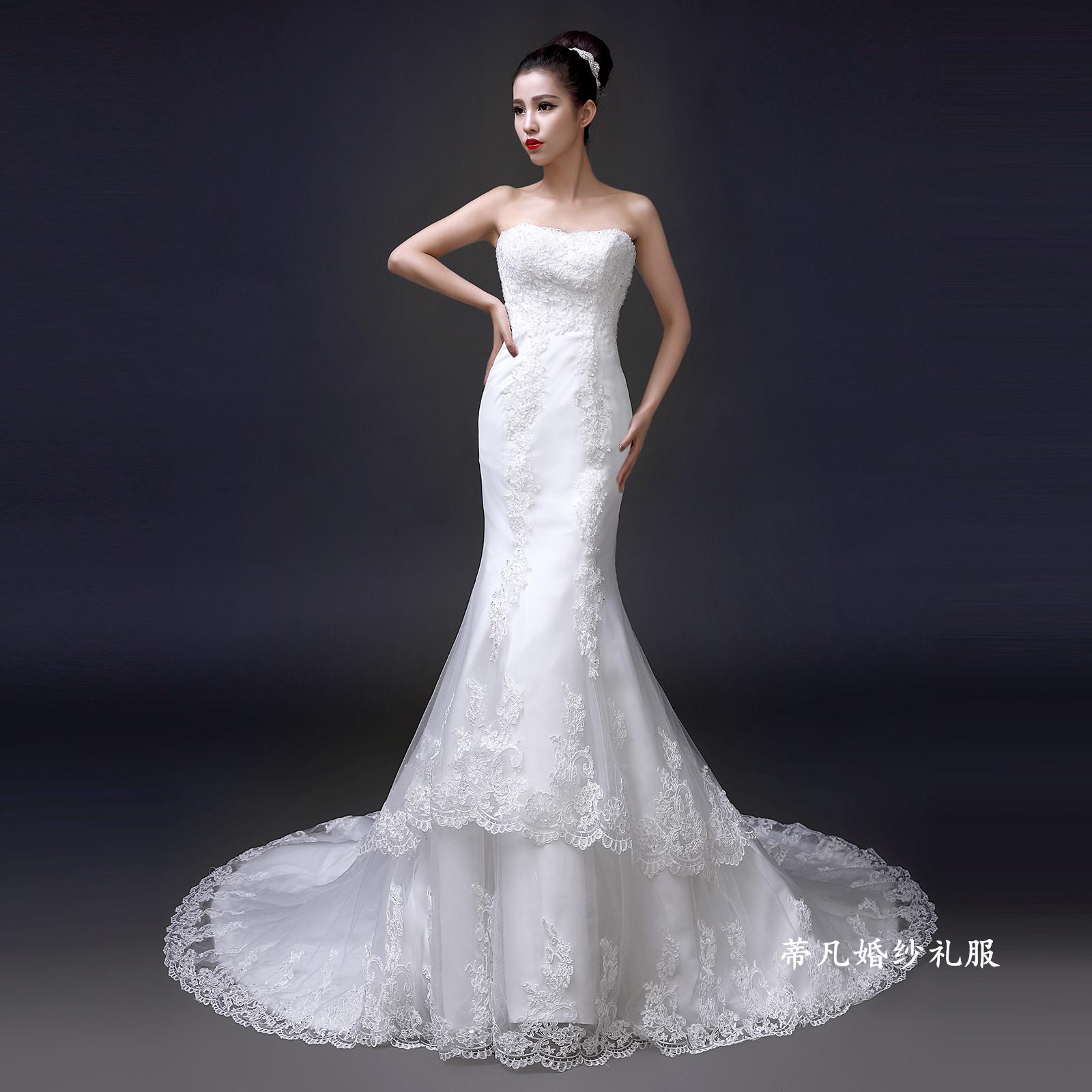 婚纱礼服新款2014冬季时尚新娘韩式抹胸型鱼尾婚纱长拖尾收腰修身