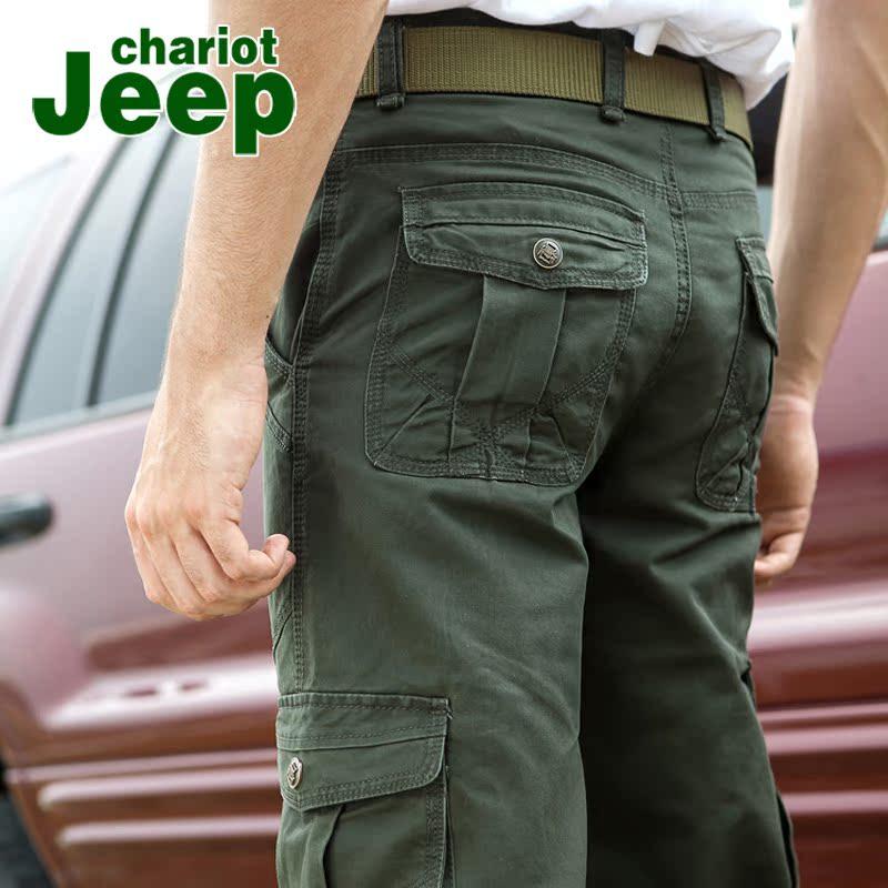 男士裤子多口袋工装裤男长裤宽松休闲裤直筒吉普战车军旅工装