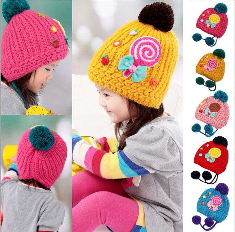 儿童帽子批发 新款棒棒糖毛线帽 儿童冬季加绒帽 宝宝针织毛线帽