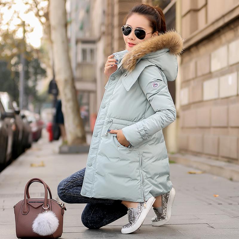 冬款棉衣 女 韩版修身中长款保暖棉服外套潮2014新款加厚贴布棉袄