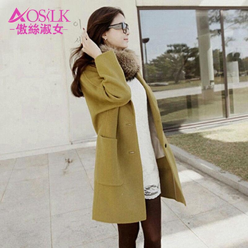 2014 秋冬秋冬新款韩版毛呢大衣大码中长款呢子外套女茧型大衣