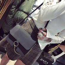 韩版 铁环磨砂百搭链条包单肩小包包小方包斜挎包女包 包包2017新款