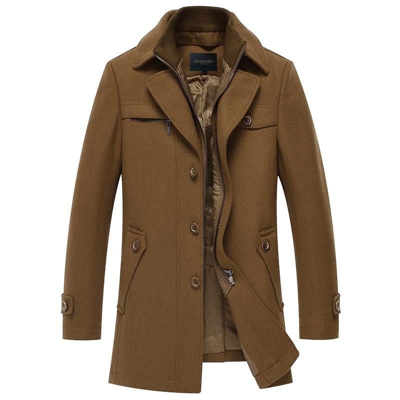 切萨蒂2014秋冬新款男式羊毛呢大衣商务休闲羊绒风衣翻领毛呢外套