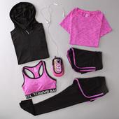 瑜伽服套装秋冬健身服五件套运动套装女健身房显瘦跑步服外套背心
