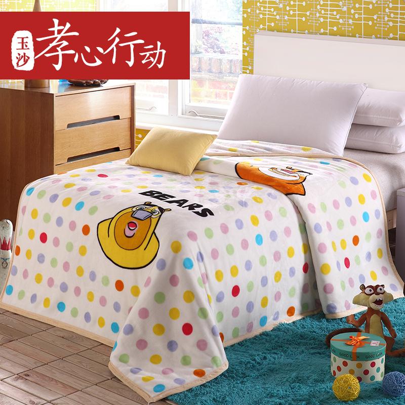 玉沙 熊出没儿童毛毯 加厚珊瑚绒毯 冬季双层法兰绒毯子童毯卡通
