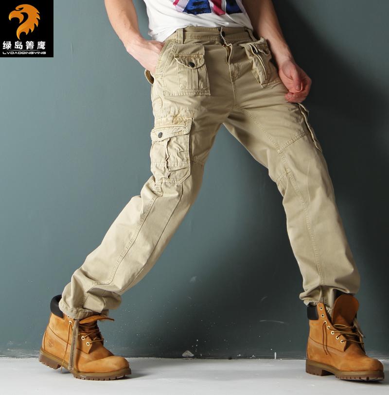 绿岛菁鹰 多口袋工装裤男长裤修身直筒潮 户外野战裤 军裤多兜裤
