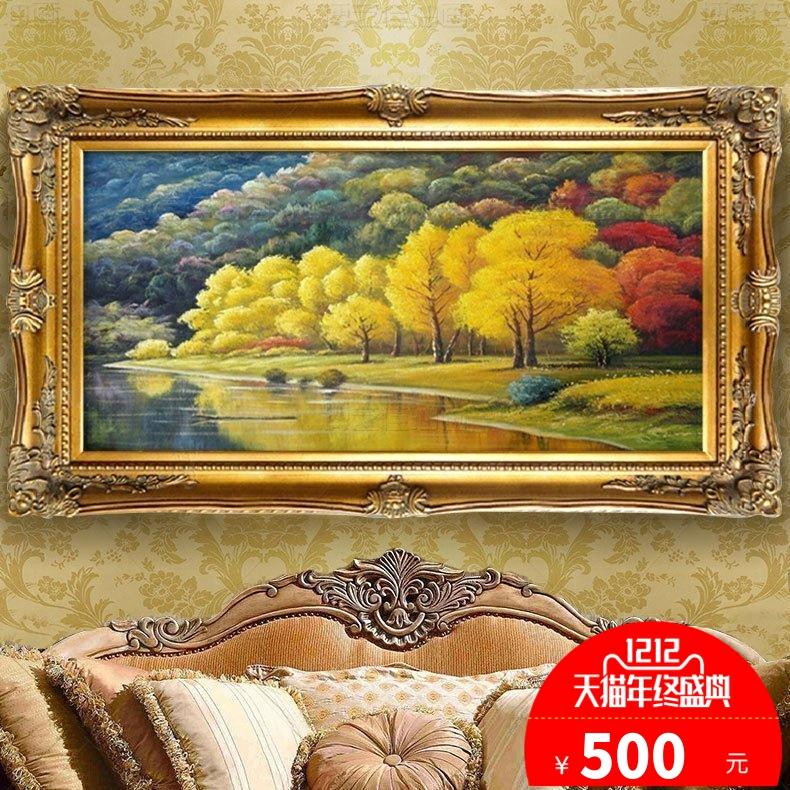 欧式风景油画山水客厅装饰画聚宝盆手绘定制酒店餐厅