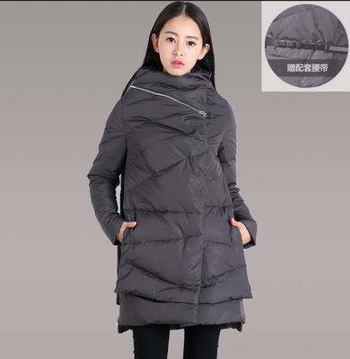 [今日特价] 2015冬装新款圣迪奥羽绒服正品女装中长款加厚修身外套S14482402