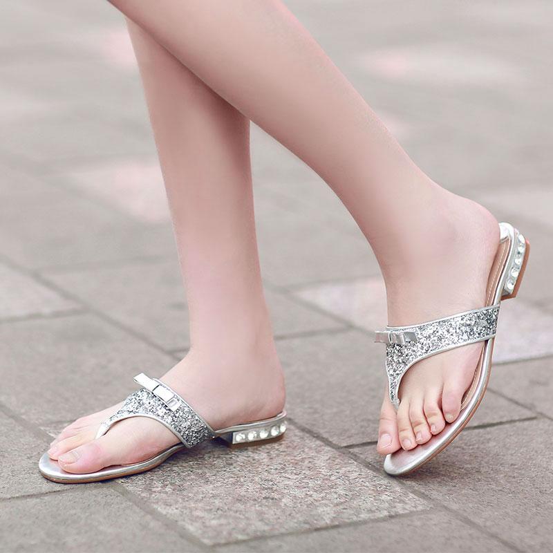清仓夏季新款蝴蝶结真皮凉拖鞋夹脚亮片粗跟人字拖水钻平跟女鞋子