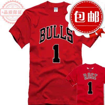 罗斯t恤公牛队球衣玫瑰1号篮球队服训练衫纯棉短袖T恤大码打底