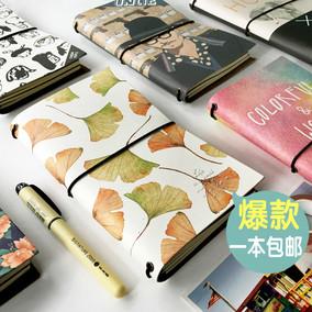 创意手账活页本笔记本文具手帐记事本绑带日记本复古旅行笔记本子
