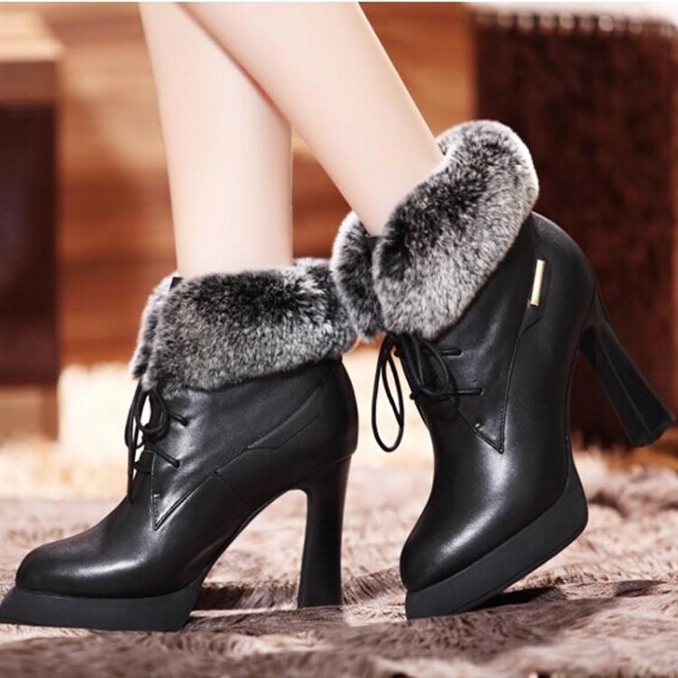 裸靴马丁靴女骑士防水台真皮靴子欧洲站2014女式鞋新款冬高跟短靴