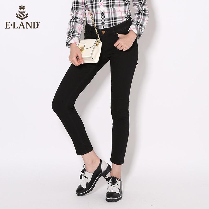 ELAND16年秋冬新品黑色贴身长裤百搭款女EETJ64V02R专柜正品