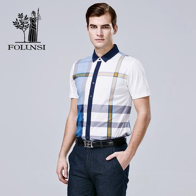 佛伦斯男装 FOLUNSI夏季新款 纯棉格纹商务短袖T恤 512643-02